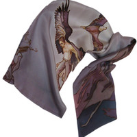 """Silk scarf for men """"Aquila"""". Hand-painted. Brown, gray-purple. Ready to ship."""