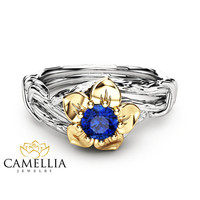 Blue Natural Sapphire Engagement Ring in 14K Two Tone Gold Inspired by Nature Branch Ring Flower Design Engagement Ring