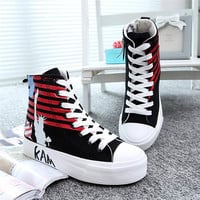 Womens Causal Comfortable American Flag Canvas Ankle Shoes