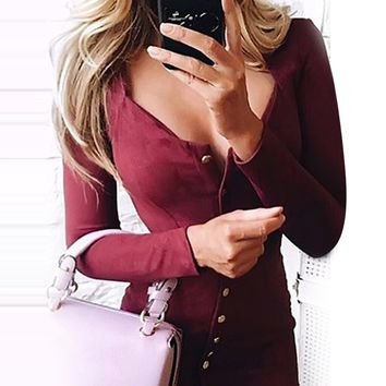 Vintage button dress of women V neck Long sleeve slim fit summer female vestidos Sexy bodycon evening party dress 2019