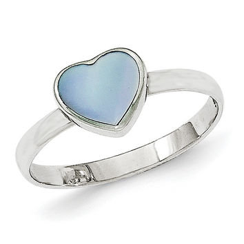 Sterling Silver Polished Blue Mother of Pearl Ring