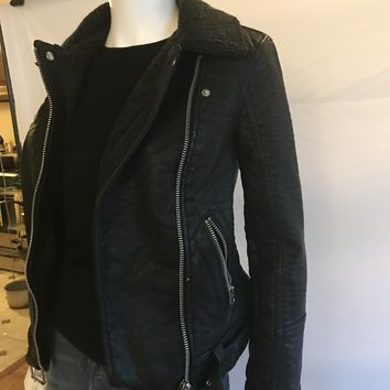 Topshop Faux Sherling Lined Moto Bomber Jackets