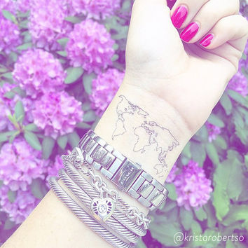 cyber monday sale world map tattoo christmas gift temporary tattoo wanderlust gypsy fake tattoos long distance friend stocking stuffer