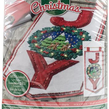 "Season Of Joy Bucilla Felt Wall Hanging Applique Kit 12""X26.5"""
