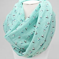 Cozy by LuLu- Mint Sailboat Infinity Scarf