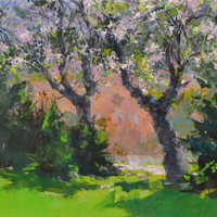 Contemporary Landscape Painting Green - Impressionist Art for Home - Nature Painting on Canvas