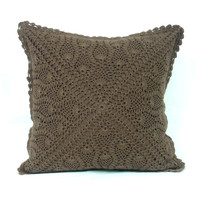 Houston CROCHET CUSHION  - Handmade- Home Decor Cushion Cover - Throw Pillow - Decorative Pillow - 2015 trends - Brown Color