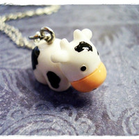 Tiny Cow 3D Charm Necklace in White & Black Resin with a Delicate 18 Inch Silver Plated Cable Chain