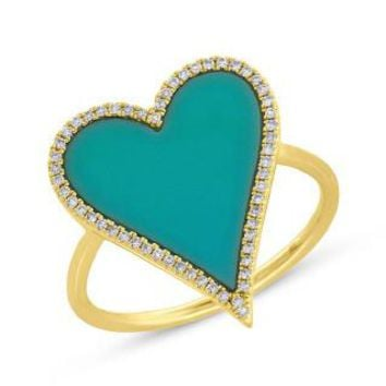 0.13ct Diamond & 1.80ct Turquoise 14k Yellow Gold Heart Ring