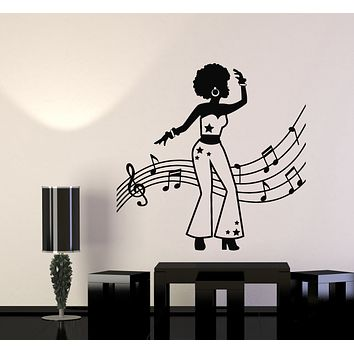 Vinyl Wall Decal African Woman Dancer Music Notes Melody Stickers Mural (g998)