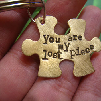 """Brass Hand Stamped Puzzle Key Chain, """"You Are My Lost Piece"""", Love, Friendship, Parent Child, Autism, Perfect Gift for Any Loving Bond"""
