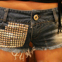 Sexy punk style low-rise ultrashort hot pants