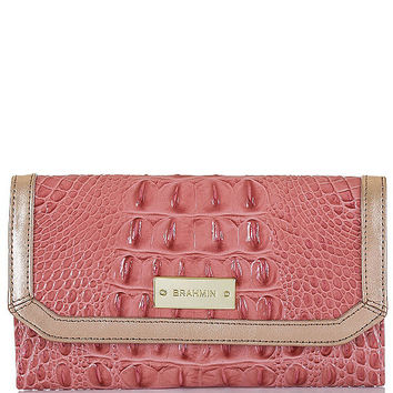 Brahmin Burlwood Tri Texture Collection Croco-Embossed Soft Checkbook Wallet | Dillards