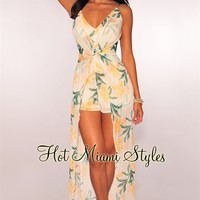 Cream Yellow Floral Knotted Maxi Romper