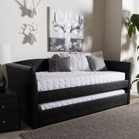 Baxton Studio Camino Modern and Contemporary Black Faux Leather Upholstered Daybed with Guest Trundle Bed Set of 1