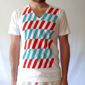 Red and Teal Alternating Stripe Organic VNeck Tee by jessalinb