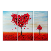 Big Red Heart Tree Canvas Wall Landscape Art Oil Painting