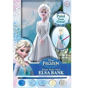 Disney Frozen Paint Your Own Elsa Coin Bank with 5 Paints and Paintbrush
