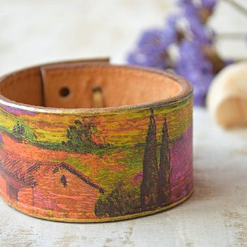 Country leather cuff bracelet Wrap Wristband