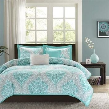 Twin / Twin XL Aqua Teal Turquoise Blue White Modern Damask Comforter Set