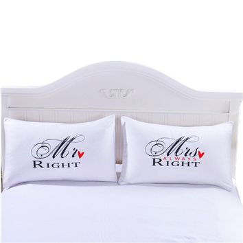 4 Styles White Romantic Mr Mrs Pillow Case Couple King Queen His Hers Always Right Pillowcase Pillow Cover Home Bedding Textile