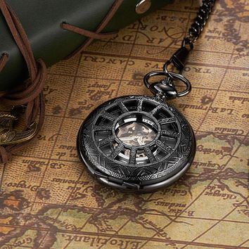 Classic Man Watch Pocket mechanical skeleton Arabic Numberal Hollow Cover Steel Case Vintage Steampunk Watches Relogio De Bolso