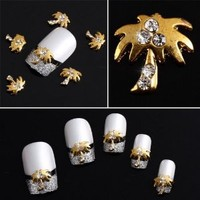 Yesurprise Gold Rhinestones Coconut trees 10 pieces Silver 3D Alloy Nail Art Slices Glitters DIY Decorations