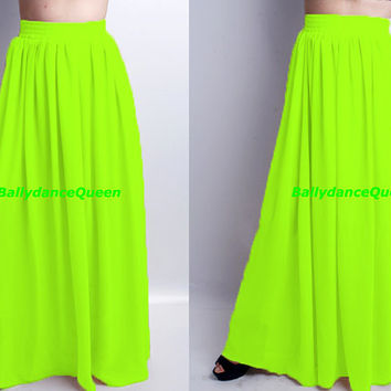 Handmade Neon Green Bridesmaid Skirts, Women Skirts, Maxi Skirt, Long Maxi Skirts, Pleated Skirts, Chiffon Maxi Skirts, Floor Length Skirts