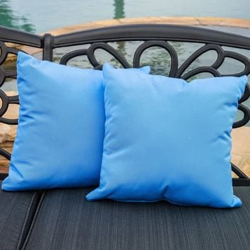 "Samara Blue 17"" Outdoor Sunbrella Accent Pillows (Set of 2)"