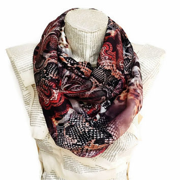 On sale, Leopard Scarf with Snake Print, Satin Infinity Scarf, Women Accessories, Very Soft