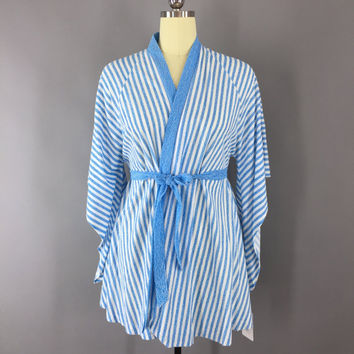 Vintage 1980s Kimono Robe / Terry Robe / Short Dressing Gown / Swim Cover Up / French Blue Stripes