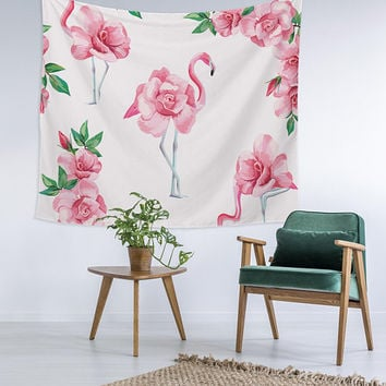 Pink Floral Flaminglo Home Decor Custom Printed Unique Dorm Decor Apartment Decor Trendy Wall Art Printed Wall Hanging Wall Tapestry