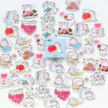 45 pcs /box Creative cute hamster baby stickers diy adhesive paper Scrapbook Notebook decoration sticker stationery kids gifts