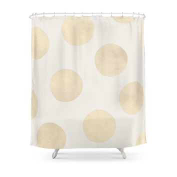 Society6 Gold Polka Dots Shower Curtains