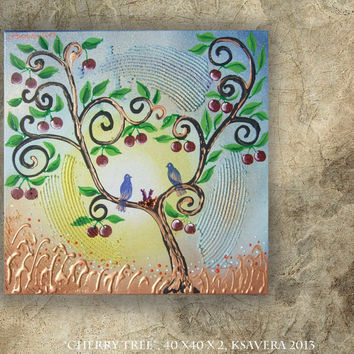 Painting on Canvas Love birds nest Cherry Blossom Tree of life Landscape impasto Woodland Enchanted Forest flowers Floral Art family
