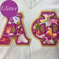 Alpha Phi Greek Stitched Lettered American Apparel Short Sleeve V-Neck Size Small