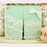 iPhone case, iPhone 4 case, iPhone 4s case, iPhone 5 case, Cute iphone 4 case, iphone 5 pearl case, Lace iphone 4 case, cute iphone 4 case