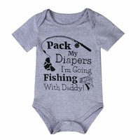 Fishing Cotton Newborn Baby Boy Short Sleeve Bodysuit Romper Jumpsuit Clothes US