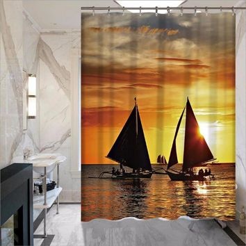 Sunset Nautical Polyester Waterproof Shower Curtain