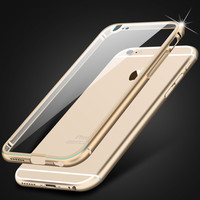Luxury Case for Apple iphone 6 4.7 / i6 Plus 5.5 Metal Aluminum + Clear Transparent Acrylic Hard Back Cover Armor Shockproof
