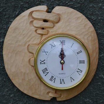 Wood carving, '' modern'' wall clock,Wood Art ,handmade,gift,Art4U-in stock