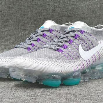 AUGUU Nike Air Max 2018 Vapormax MID Flyknit Fashion Running Shoes Grey Purple
