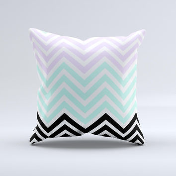 Light Teal & Purple Sharp Black Chevron  Ink-Fuzed Decorative Throw Pillow