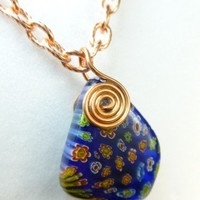 Copper Metal Spiral Wire Wrap Millefiori Glass Nugget Pendant