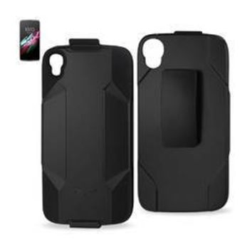 REIKO ALCATEL ONE TOUCH IDOL 3 HYBRID HEAVY DUTY HOLSTER COMBO CASE IN BLACK