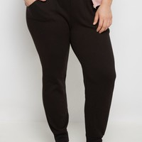 Plus Black Striped Band Fleece Jogger | Plus Joggers & Sweatpants | rue21