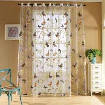 Curtains Tulle Window Curtain for Living Room Bedroom Kitchen Curtains Printed Sheer Voile Curtains