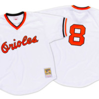 Retro Cal Ripken Jr 1985 Batting Practice Baltimore Orioles Mitchell Ness Jersey