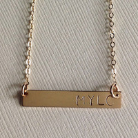 14K Gold filled Bar necklace/ personalized bar/ hand stamped/gift/ mom/kids / names/ dates/ initials