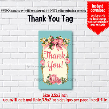 Instant Download, vintage frame, bow, floral thank you gift, girl party, Thank you TAG, 3.5x2inch printable , non-editable NOT CUSTOMIZABLE